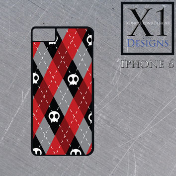 Custom Argyle and Skull Iphone 6 case Cute Skull Cell Phone Case Iphone Cover