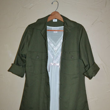 Vintage Green Military Shirt OG 507 Utility Shirt Army Green Shirt Dura Press Poly/Cotton Shirt Jacket Size Small