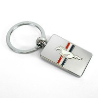 Ford Mustang Tri-bar Logo Chrome Metal Key Chain