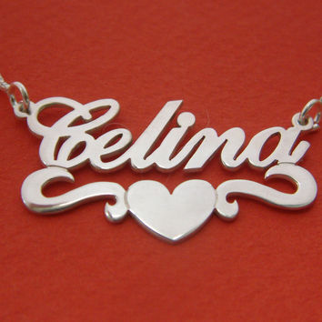 Name Necklace With Heart Charm Name Pendant Birthday Gift Necklace With Name Necklace Silver Name Chain Jewelry For Her Silver Name Pendant
