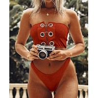 Trending Women Stylish Pure Color Chest Metal Ring Buckle Strapless High Waist Two Piece Bikini Swimwear Bathing Brown I12202-1