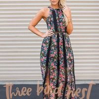 High Neck Black Floral Maxi Dress