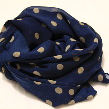 Navy Khaki Polka Dot Pattern Scarf,  Light Weight Spring Summer 1520 Scarf