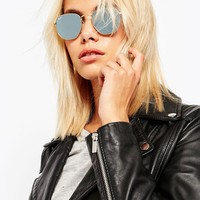 Ray-Ban Hexaganol Flat Lens Round Sunglasses with Silver Flash Lens