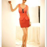 Stylish V-Collar Color Block Lotus Slim Dress Orange, Buy Stylish V-Collar Color Block Lotus Slim Dress Orange with cheapest price|wholesale-dress.net