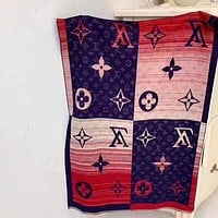 Louis vuitton fashion men and women casual printed patchwork color fringed shawl scarf