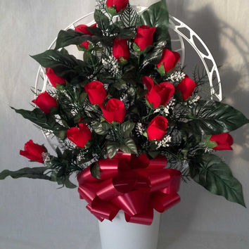 Hoop Basket Arrangement with Red Rosebuds