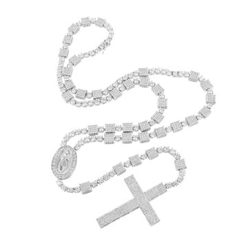 Lab Diamond Rosary Jesus Stopper Necklace & Cross Pendant