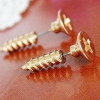 Unique Cute Screw Earrings For Two-gold