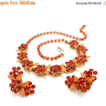 Coral Rhinestone & Enamel Demi, Necklace Earring Set, Floral Design,  Rhinestone Accents,Dimensional Design, Vintage Jewelry, Statement Set