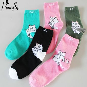 PEONFLY New Lovely Cartoon Animal Cats Pattern Women Cute Socks Autumn Fashion Casual Harajuku Style hip hop Cotton Socks Female