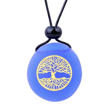 Amulet Frosted Sea Glass Stone Celtic Magic Tree of Life Good Luck Powers Royal Blue Adjustable Necklace