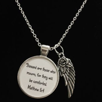 Inspirational Scripture Matthew 5:4 Blessed Are Those Who Mourn Necklace