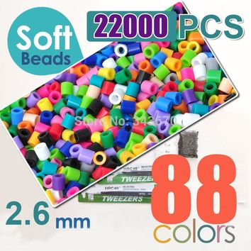 2.6mm mini soft hama beads 22000pcs 88 colors soft perler beads activity soft fuse beads(1 template+5 iron papers+2 tweezers)