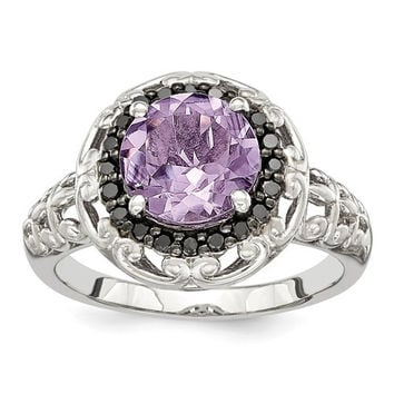 Sterling Silver Pink Quartz Rose De France Amethyst & Black Diamond Ring