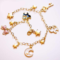 Sweet Cosplay Sailor Moon Tsukino Usagi luna cat Chain bracelet Hand catenary