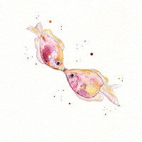 Kissy/ Kissing Pink Fish/Watercolor Print