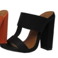 """Fay"" Double Strap Mule High Heel Sandals - Black"