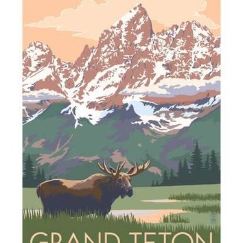 Grand Teton National Park - Moose and Mountains Art Print by Lantern Press at Art.com