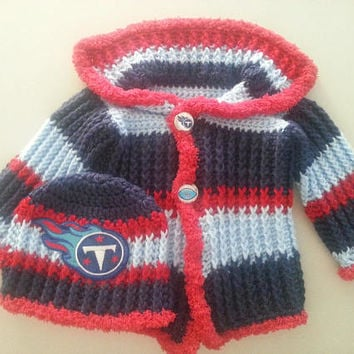 Tennessee Titans Baby Sweater and Hat Set Size 3-6 Months