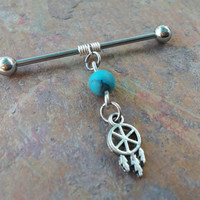 Small Dreamcatcher charm wire wrapped turquoise stones Industrial/Scaffold barbell 14 gauge stainless steel body jewelry
