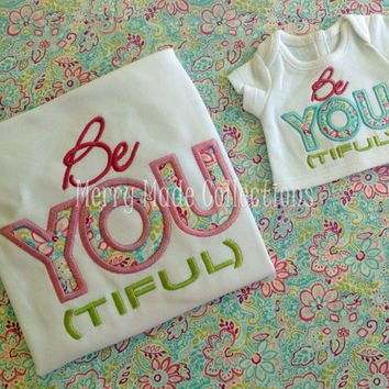 BeYOUtiful Appliqued Girl's Shirt (Doll Shirt available)