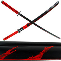 Carbon Steel Ninja Katana Black w- Blood Splash 40 inches