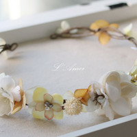 wedding flower crown, whimsical wedding tiara, bridal floral circlet, wedding crown headpiece, Wild flowers pearl  hair halo