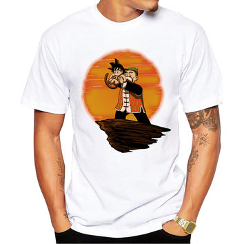 Master Roshi & Baby Goku Lion King Dragon Ball Z Men's Short Sleeve Casual White T-Shirt