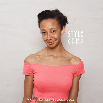 Coco Off Shoulder Sweetheart Crop Top in Melon Pink