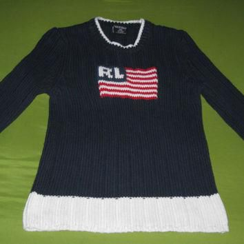 Rare Vintage 1990s Polo Ralph Lauren Flag Knit Sweater