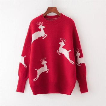 Round Neck Christmas Reindeer Red Sweater?