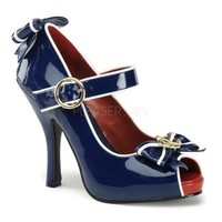 Funtasma Shoes - Anchor-22 Peep Toe Sailor Girl Mary Janes with Bow Detail with Gold Anchor Charm