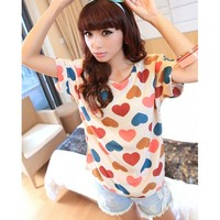 ::RM14.90:: T7815B (Almond) M,L,XL Casual Easy Matching Heart-Shape Pattern Top