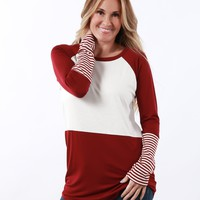 Colorblock with Striped Cuff | S-XL