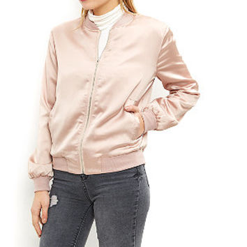 Cameo Rose Shell Pink Satin Bomber Jacket