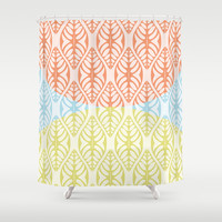 THREE TONE GRAPHICAL LEAF - A GENTILE SUMMER COCKTAIL Shower Curtain by RunnyCustard Illustration