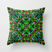 Green Mandala Pattern Throw Pillow by Hippy Gift Shop