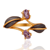 Indian Handmade 18k Yellow Gold Plated Over Brass Natural Gemstone Amethyst Ring