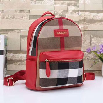BURBERRY Women Shopping Leather Metal old plaid Backpack red