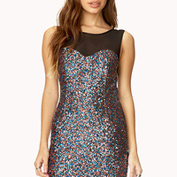 FOREVER 21 Bombshell Sequined Dress Blue/Multi Large
