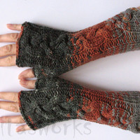 Fingerless Gloves  Brown Beige Gray wrist warmers Knit