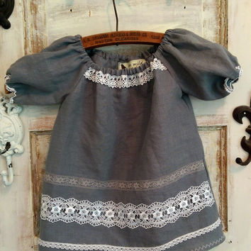 Linen Grey Dress Size 12 to 18 Months All Sizes Available
