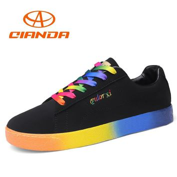 QIANDA Colorful Skateboard Shoes for Men Waterproof Leather Uppers Man Sneakers Non-slip Hard-Wearing Rubber Sole Sport Shoes