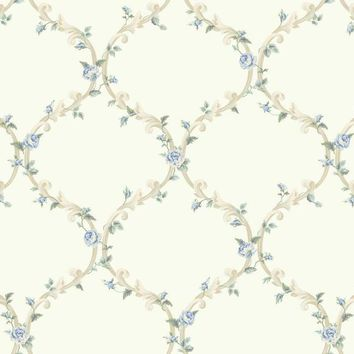 York CT0851 Callaway Cottage Elegant Rose Trellis Wallpaper