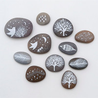 RESERVED for Angela - Collection of Painted Stones - Beach Pebble, Rock Art, Nature - by Natasha Newton