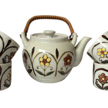 Vintage Asahi Teapot Tea Set Japanese Floral Tea Sake 1970's Pottery Ceramic Tea Cups