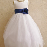 Flower Girl Simple Classy Tulle Dress White with Blue Royal for Easter Wedding Bridesmaid