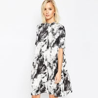 Tie Dye Printed Short Sleeves Shift Dress