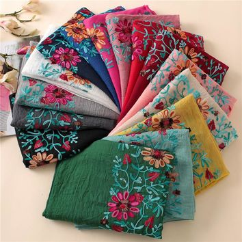2018 Winter Embroidered Floral Viscose Scarf Shawl From Indian Bandana Print Cotton Scarves and Wraps Foulard Sjaal Muslim Hijab